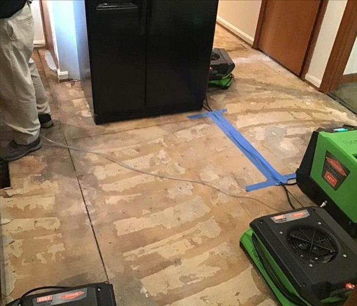 floor mid renovation with air mover