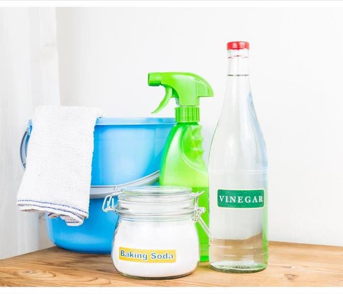 baking soda and vinegar with cleaning tools